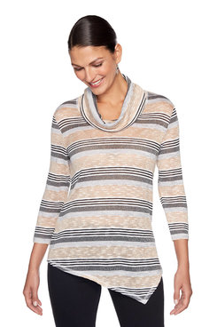 Image: Asymmetrical Striped Cowl Neck Sweater