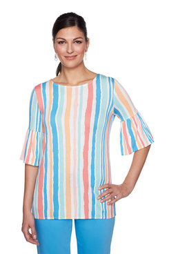 Image: Ballet Neck Parisian Stripe Top