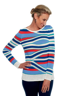 Image: Boat Neck Pieced Stripe Sweater Pullover