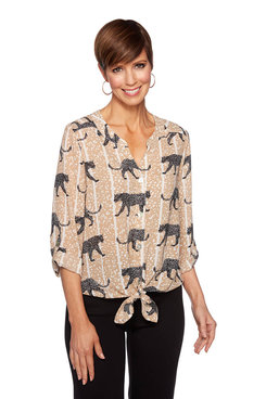 Image: Cheetah Button Front Top