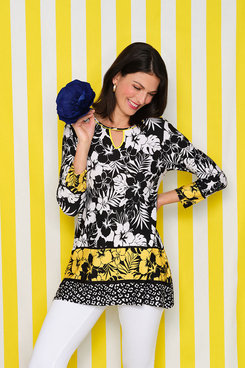 Image: Colorblock Hibiscus Printed Handkerchief Top