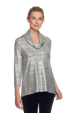 Cowl Neck Hi-Lo Hem Foiled Melange Knit Top