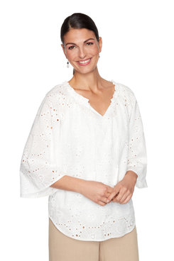Image: Delicate Lined Floral Eyelet Top