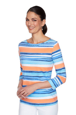 Image: Embellished Colorful Striped Top