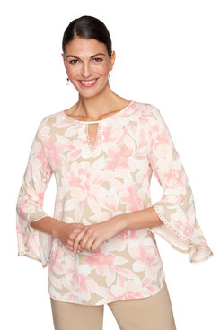Image: Embellished Floral Split Neck Top