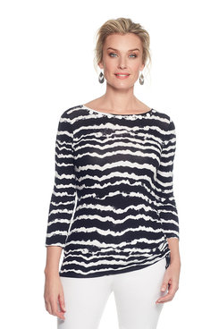 Image: Embellished  Knit Top with Striped Tie Dye