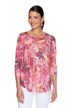Image: Embellished Textured Floral Burnout Top