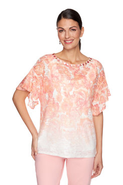Image: Embellished Tropical Printed Handkerchief Top