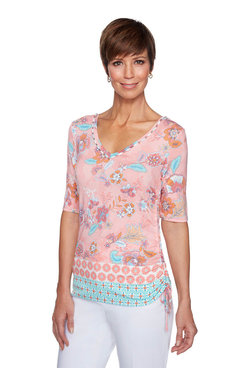 Image: Embroidery Border Print Knit Top