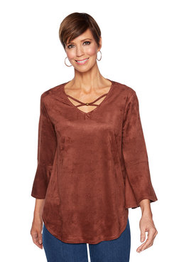 Image: Flounce Sleeve Suede Top