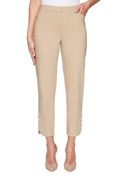 Image: Fly-Front Double Stretch Pleated Ankle Pant