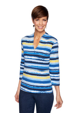 Image: Funnel Neck Stripe Top