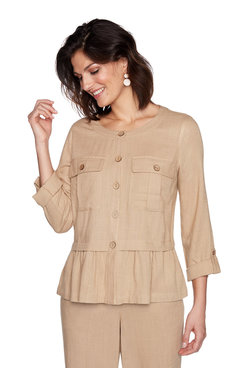 Image: Linen Button Front Jacket