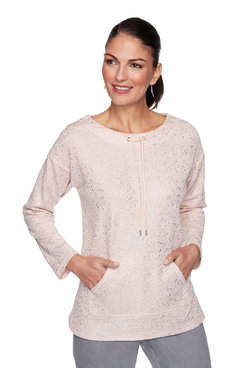 Image: Metallic Puckered Knit Pullover