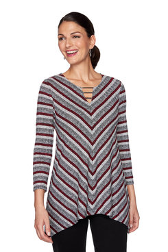 Image: Metallic Ribbed Striped Top