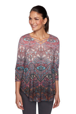 Image: Ombre Baroque Paisley Print Top