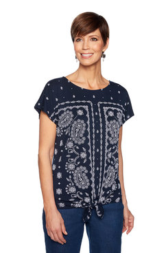Image: Paisley Tie-Front Top