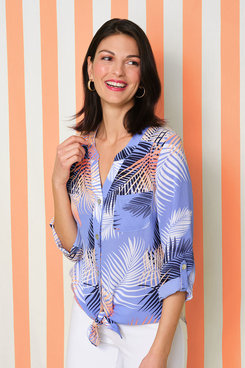 Image: Palm Print Front Tie Button-Up Top