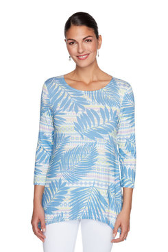 Image: Palm Striped Handkerchief Top