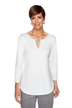 Image: Petite Beaded Solid Top