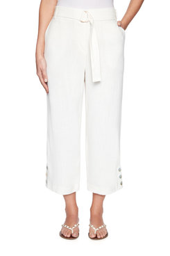 Image: Petite Belted Fly-Front Linen Capri