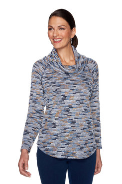 Image: Petite Blue Moon Space Dye Pullover