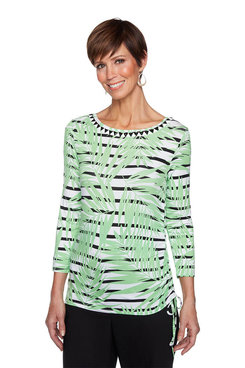 Image: Petite Boat Neck Palm Stripe Print Top