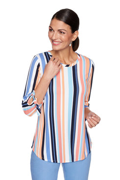 Image: Petite Bright Striped Bow Sleeve Top