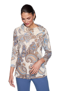Image: Petite Brushed Paisley Print Top