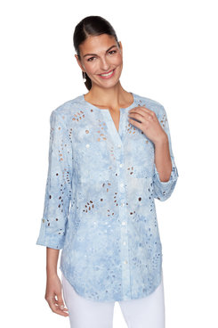 Image: Petite Button-Front Tie-Dye Embroidered Eyelet Top