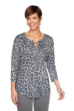 Image: Petite Cheetah Lace Up Pullover