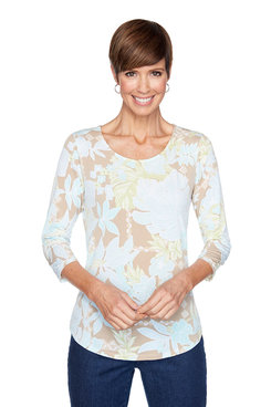 Image: Petite Eclectic Floral Puff Top