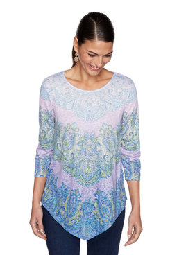 Image: Petite Embellished Ombre Paisley Printed Top