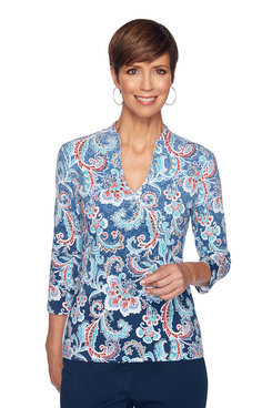 Image: Petite Embellished Ombre Paisley Top