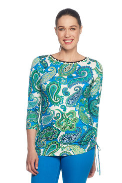 Petite Embellished Paisley Print Top
