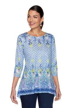 Image: Petite Embellished Printed Burnout Top