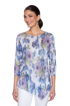 Image: Petite Embellished Scoop-Neck Floral Printed Top