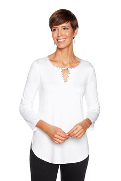 Image: Petite Embellished Solid Knit Top