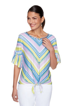 Image: Petite Embellished Striped Tie-Front Top