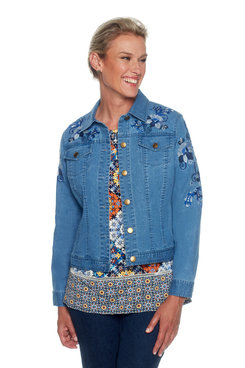 Image: Petite Embroidered Denim Jacket