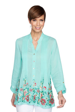 Image: Petite Embroidered Silky Gauze Top
