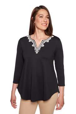 Image: Petite Embroidered Split Neck Top