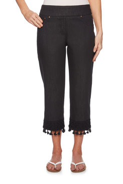 Image: Petite Embroidered Tassel Denim Pants