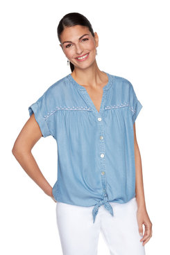 Image: Petite Embroidered Tencel Button-Up Top
