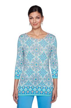 Image: Petite Embroidery Solarium Print Knit Top