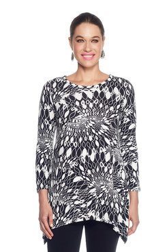 Image: Petite Fan Swirl Print Embellished Knit Top