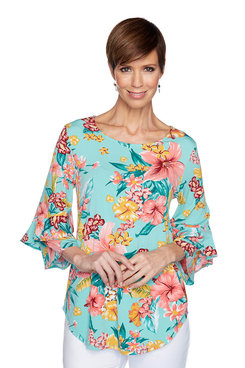 Image: Petite Floral Flounce Sleeve Top