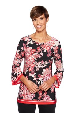 Image: Petite Floral Puff Print Knit Top