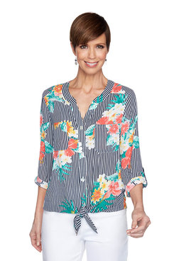 Image: Petite Floral Striped Tie-Front Top