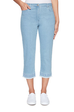 Image: Petite Fly-Front Soft Stretch Embroidered Denim Capri